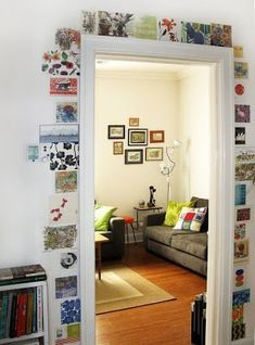 Lucy King cleverly edged her doorframe with an eclectic group of floral cards. It adds a bit of fanfare to an otherwise unremarkable architectural feature.