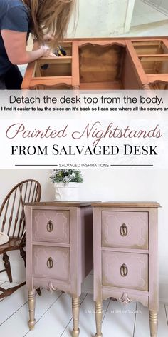 Today im sharing how to turn an old desk into painted nightstands! Video i see these old desks at thrift stores and garage sales and they make amazing nightstands once upcycled! Refurbished Furniture, Repurposed Furniture, Cool Furniture, Furniture Storage, Farmhouse Furniture, How To Make Furniture, How To Distress Furniture, Diy Furniture Repurpose, Vintage Furniture