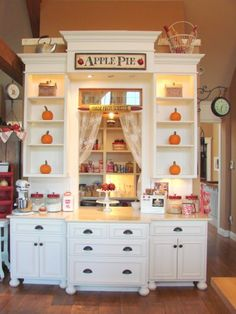 Walk in pantry with a serving counter. This'd be so neat in my kitchen!