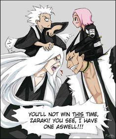 A deviation for who, cos Kenpachi always has Yarichu on his shoulder, wanted Ukitake with Hitsugaya on his. aah good 'ol Ukitake, I like him the be. Ukitake has one too Bleach Anime, Bleach Ichigo Bankai, Bleach Fanart, Otaku Anime, Manga Anime, Anime Art, Bleach Captains, Kenpachi Zaraki, Bleach Funny