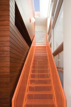 Marvelous Kuhlhaus 02 Home Blends Sustainability With Style : Orange Stell Staircase Besides Wooden Wall