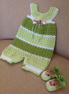 crocheted baby romper 6-9 months with matching shoes