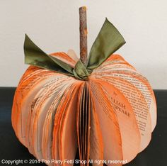 I love these popular upcycled book pumpkins for a quick, easy Halloween decoration.   They are an easy DIY Halloween project for unique Fall or Halloween Decoration.  A simple How To project for beginner crafters. And they are Earth friendly since you can reuse or repurpose your old books by using either a paperback or [Read On]