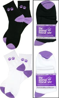 Purple Paw Casual Socks at The Animal Rescue Site