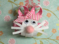 NEW Item White Bunny Sculpture Ribbon Hair Clip by SAuvigne23, $4.20