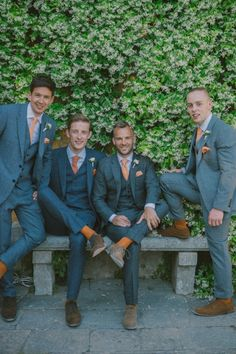 Wedding Groomsmen suits should be paid as much attention as bridesmaid dresses! We mean, they are your best friends, your brothers, the men that will see you get married even if you get cold feet! We have covered wedding attire groom related, but your groomsmen need their very own unique wedding tuxedos or suits or outfits that will make everyone know that those are the great men who will stand by your side while you go through the best day in your life and all those days to come! Gray Groomsmen Suits, Groomsmen Outfits, Groom And Groomsmen Attire, Groom Suits, Mens Suits, Bride Groom, Wedding Attire, Fall Wedding Tuxedos, Grey Tuxedo Wedding