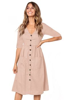 44113af60574 Cheap Pink Button Front Midi Dress with Pockets only US$ 10.24, Midi Dresses  Drop