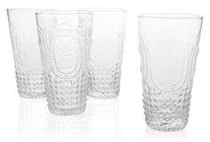 S/4 Embossed Highball Glasses, Clear