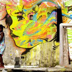 Stinkfish - Ses fresques sont saturées de couleurs vives et de formes, uniques et totalement réalistes! http://space-art.fr/colorful-murals-stinkfish/