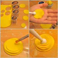 It's Brittany from Edible Details here with an easy DIY fondant flower tutorial . Fondant Flower Tutorial, Fondant Flowers, Cake Tutorial, Clay Flowers, Sugar Flowers, Yellow Flowers, Paper Flowers, Cake Decorating Techniques, Cake Decorating Tutorials