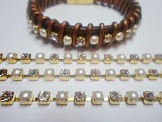 16 Cupchain, 4mm Chinese glass rhinestone / faux pearl / gold-finished brass