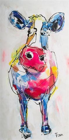 Watercolor And Ink, Watercolor Paintings, Watercolours, Cow Art, Unique Animals, Baby Pigs, Animal Drawings, Farm Animals, Animal Pictures