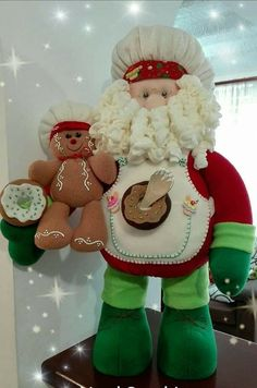 Santa Doll, Adult Crafts, Christmas Goodies, Gingerbread, Snowman, Teddy Bear, Dolls, Pictures, Ideas Para