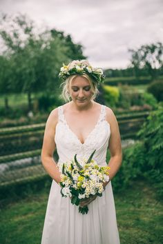 Ti Adora by Alvina Valenta Dress Gown Bride Bridal Flower Crown Bouquet Yellow Bohemian Home Made Farm Wedding http://www.jessyarwood.co.uk/