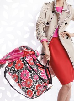 Vera Bradley Winter 2014: Carryall Travel Bag in Cheery Blossoms with Black Trim
