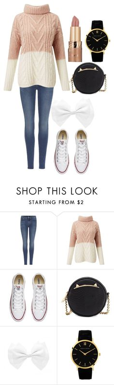 """An Afternoon Stroll"" by ntr1103 ❤ liked on Polyvore featuring 7 For All Mankind, Miss Selfridge, Converse, Betsey Johnson and tarte"