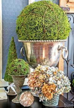moss balls and topiaries size does matter, crafts, diy, home decor, seasonal holiday decor