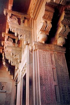 Beautiful decorated columns at Agra Fort.