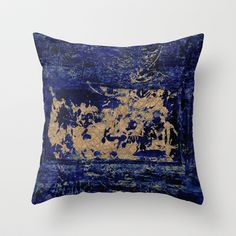 textures in blue Throw Pillow by agnes Trachet - $20.00