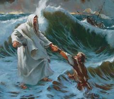 Peter walks out to Jesus on the water.
