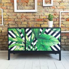 Upcycled vintage retro Stag chest of drawers tropical palms decoupage