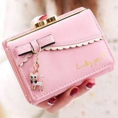 Women Bow Tie Kitty Bright PU Leather Short Wallet Card Holder Purse