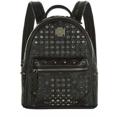 MCM Mini Diamond Visetos Backpack ($1,520) ❤ liked on Polyvore featuring bags, backpacks, multi pocket bag, studded bag, mini backpack, multi pocket backpack and diamond backpack