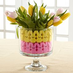 Tabletop Trifle - The Pampered Chef™  The Trifle Bowl works as an elegant centerpiece for just about every occasion, and Easter is no exception. Fill the Trifle Bowl with your favorite springtime flowers (we like tulips and daffodils), Easter marshmallows, jelly beans and your favorite candy.  Tip: Use a short, cylindrical glass container inside the Trifle Bowl to secure the Easter candy and hold the flowers in water.