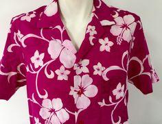 Hilo Hattie's Fuchsia Pink Large Hawaiian Shirt Vtg 1970s White Hibiscus Flower | eBay