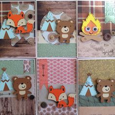 Cricut create a critter handmade birthday card woodland boy fox bear teepee willow fox design