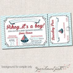 Nautical Baby Shower Invitation - Ahoy it's a Boy