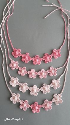 Ready to ship worldwide! Crochet necklace Length: 47 cm inches) + ties 33 cm inches) on each side Flower size: 4 inches) flowers cotton Feel free to ask me any questions Ready to ship in business days The list of items will be growing so stay - Fashion Cotton Crochet, Crochet Lace, Crochet Stitches, Crochet Trim, Crochet Motif, Vintage Crochet, Neck Accessories, Crochet Accessories, Crochet Flower Patterns