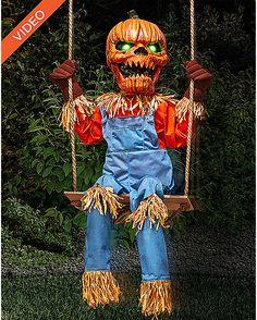 2 ft Lil Nester Swinging Pumpkin Scarecrow Animatronics - Decorations - Spirithalloween.com