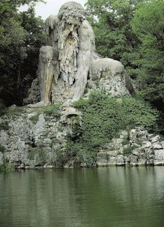 Giambologna's largest work, the mountain god, Appennino (1577) It sits outside of Florence, Italy.
