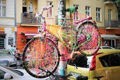 Friedrichshain a flying bicycle