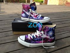 Galaxy Converse Sneakers Hand Painted High by Zoehandpaintedshoes, $85.00