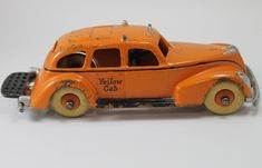 1939 Cast Iron Toy Yellow Cab Taxi  made by Hubley