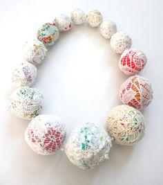 Midsummer necklace - embroidered fibre art piece