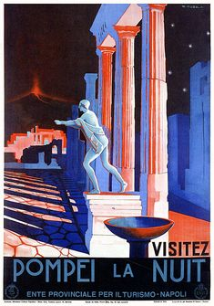 Travel Poster Visitez Pompei La Nuit by Giuseppe Riccobaldi 1948 Travel Wall Decor Tourism Poster Naples Print Digitally Edited Italy Tourism, Travel And Tourism, Retro Poster, Vintage Travel Posters, Poster Poster, Pompeii And Herculaneum, Tourism Poster, Roman City, Classical Antiquity