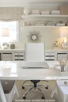 Home Office White and Gorgeous | See more inspirations and ideas for your office in http://www.bocadolobo.com/en/products/writing-desks.php