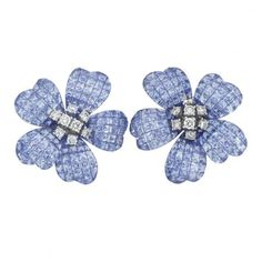 Pair of Platinum, Invisibly-Set Sapphire and Diamond Flower Earclips
