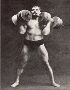 vintage strongman lifting barbells in each hand
