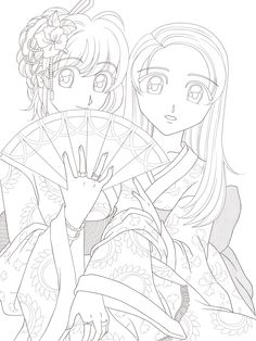 Anime Kimono Girl Line Art Sketch Coloring Page