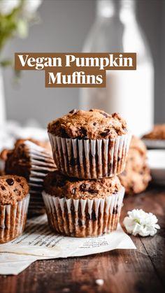 Delicious Vegan Recipes, Healthy Dessert Recipes, Breakfast Recipes, Vegetarian Recipes, Snack Recipes, Dairy Free Baking, Dairy Free Treats, Vegan Baking, Vegan Pumpkin