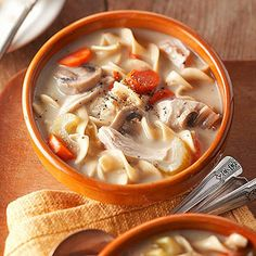 Creamy Chicken Noodle Soup Some folks say homemade chicken noodle soup helps battle a cold or the flu, but even doubters agree its comforting flavor has great appeal. This version serves a crowd and is creamy and rich without added cream.