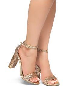 9bd82ec88db HerStyle Rosemmina Open Toe Ankle Strap Chunky Heel (RoseGoldGlitter)
