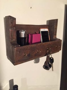 Rustic Mail Organizer and Key Ring Holder, Primitive Organizer, Made with Wood Pallets, Holiday Shipping Discount