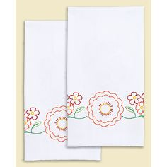 "Stamped White Decorative Hand Towel Pair 17""""X28""""-Fiesta Flowers"
