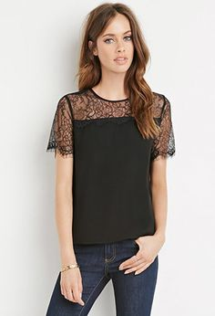 Boxy Eyelash Lace Top | Forever 21 - 2000162886