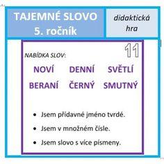 Tajemné slovo - 5. ročník Education, School, Montessori, Teaching Ideas, Literatura, Onderwijs, Learning